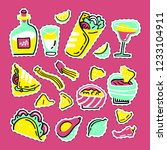 mexican food set. hand drawn... | Shutterstock .eps vector #1233104911