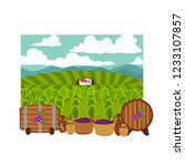 vineyard concept  field with... | Shutterstock .eps vector #1233107857