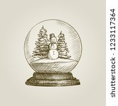 hand drawn snow globe with a... | Shutterstock .eps vector #1233117364