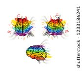 set of creative human brains in ... | Shutterstock . vector #1233186241