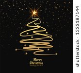 merry christmas card with shiny ... | Shutterstock .eps vector #1233187144