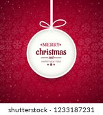 merry christmas ball with... | Shutterstock .eps vector #1233187231