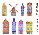 set of amsterdam old houses... | Shutterstock .eps vector #1233195244