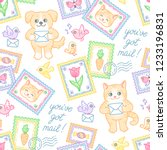 cute cat  dog  stamps ... | Shutterstock .eps vector #1233196831