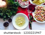 flat lay of festive table... | Shutterstock . vector #1233221947