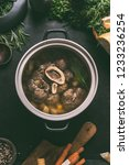 broth of beef meat shin with... | Shutterstock . vector #1233236254
