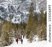 A group of people on a winter hike in the Alps, South Tyrol, Italy. - stock photo