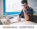 concentrated caucasian man... | Shutterstock . vector #1233275014