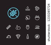 food icons set. pizza and food...
