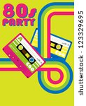 retro poster   80s party flyer... | Shutterstock .eps vector #123329695