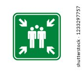 green assembly point sign vector | Shutterstock .eps vector #1233297757