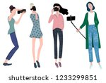 four girls bloggers taking... | Shutterstock .eps vector #1233299851