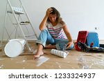painting equipment in the room... | Shutterstock . vector #1233324937