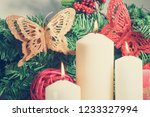 close up of christmas white wax ...   Shutterstock . vector #1233327994