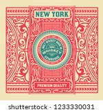 whiskey label with old frames.... | Shutterstock .eps vector #1233330031