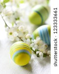 Easter Eggs And Branch With...