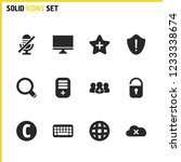 ui icons set with cloud data ...