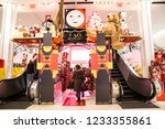 Small photo of NEW YORK CITY - DECEMBER 17, 2017: View of inside of famous Macy's Department Store at Herald Square in Manhattan during Christmas Holiday season with people shopping at FAO Schwarz display