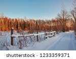 winter country landscape with... | Shutterstock . vector #1233359371