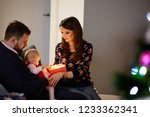 family with newborn at... | Shutterstock . vector #1233362341