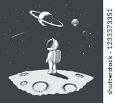 little astronaut looks to... | Shutterstock .eps vector #1233373351