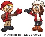 cartoon kids wearing winter... | Shutterstock .eps vector #1233373921