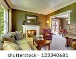 elegant classic green living... | Shutterstock . vector #123340681