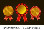 set of gold awards with red... | Shutterstock .eps vector #1233419011