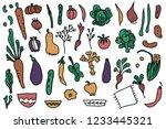 set of vector vegetables.... | Shutterstock .eps vector #1233445321