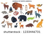 bundle of wild forest animals... | Shutterstock .eps vector #1233446731