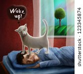 Stock photo a man sleeping on his bed time to wake up cat is trying to wake him 123345874