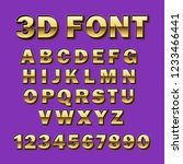 vector font 3d gold. gilded... | Shutterstock .eps vector #1233466441