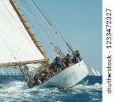 sailing yacht under full sail... | Shutterstock . vector #1233472327