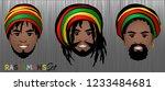 set of smiling faces of black... | Shutterstock .eps vector #1233484681