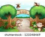 illustration of monkeys in zoo... | Shutterstock .eps vector #123348469