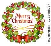 christmas mistletoe wreath with ... | Shutterstock .eps vector #1233488797