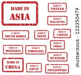 Set of red rubber stamps of Made In symbols for Asia, including China, Vietnam, Malaysia, Nepal, Taiwan, South Korea, India, Japan, Myanmar, Philippines, Indonesia - stock vector