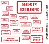 Set of red rubber stamps of Made In symbols for Europe and surrounds, including Italy, France, Russia, UK, Germany, Austria, Ireland, Romania - stock vector
