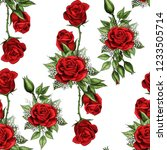 red rose flower bouquet spreads ... | Shutterstock .eps vector #1233505714