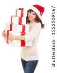 happy santa woman with gift... | Shutterstock . vector #1233509167