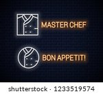 chef uniform neon sign. chefs... | Shutterstock .eps vector #1233519574
