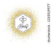 honey on golden glitter. bee... | Shutterstock .eps vector #1233519577