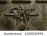 grunge freemasonry emblem on a...   Shutterstock . vector #1233534994