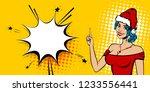 beautiful blue hair woman pop... | Shutterstock .eps vector #1233556441