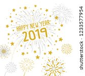 fireworks with happy new year... | Shutterstock .eps vector #1233577954