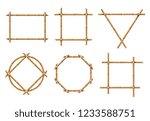 bamboo frames. wood stick... | Shutterstock .eps vector #1233588751