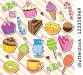 cute sweet dessert clip art | Shutterstock .eps vector #123358969