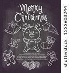 christmas deer doodle chalk  | Shutterstock .eps vector #1233603244