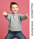 young boy kid in grey hoodie... | Shutterstock . vector #1233607954
