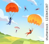 parachute jumpers sky. extreme... | Shutterstock .eps vector #1233641287